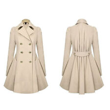Women's Slim Coat Winter Double Breasted Peacoat Lapel Outwear Trench Coat New