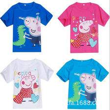 New Kids Baby Boys Girls Clothes Peppa Pig Short Sleeve Tops T-shirt Shirt 2-7Y