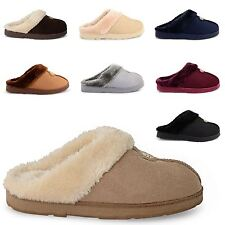 NEW LADIES CASUAL SLIP ON MULES WARM WINTER HARD SOLE FUR LINED SLIPPERS UK 3-8