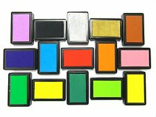 Large Rubber Stamps Craft Pigment Ink Pad For Paper Wood Fabric 15 Colours