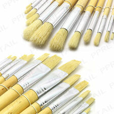 12Pc FLAT OR ROUND ART BRUSH SETS ★EXTRA LONG HANDLE★ Small/Large/Paint/Stroke