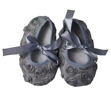 Baby Xmas Girls Silver Gray Rosettes Ribbon Crib Shoes NB-18M