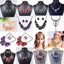 Fashion Enamel Crystal Chunky Statement Bib Pendant Chain Choker Necklace Set