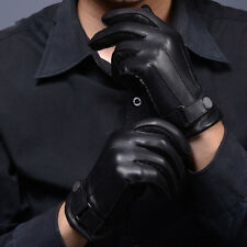 New Fashion Black Men's 3-Lines Winter Warm Driving Gloves PU Leather Lined L XL