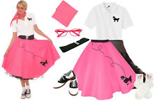 Hip Hop 50s Shop Womens 8 pc Hot Pink Poodle Skirt Vintage Style Costume Set