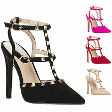 Women's Edgy Ankle T Strap Caged Pointy Toe Rock Stud Sandal Pump ARYA-2