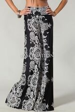 Boho PAISLEY PRINT PALAZZO PANTS High Wait or Yoga Foldover Band Wide legs S M L