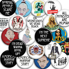 American Horror Story - Choice of 12 Button Badges 25mm 1 inch - Parody Style