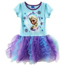 Girls Kids Princess Frozen Queen Anna Elsa Cake Tulle Tutu Dress SZ 4-7 Clothing