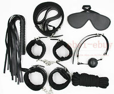 High Quality Bondage Set Rope Ball Gag Hand/Ankle Cuffs Whip Collar Blindfold UK
