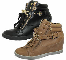WOMENS LADIES WEDGE HEEL HIGH TOP TRAINER ANKLE BOOTS GIRLS LACE UP CASUAL SHOES
