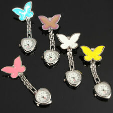 Protable Butterfly Heart Nurse Clip Fob Brooch Pendant Hanging Dial Pocket Watch