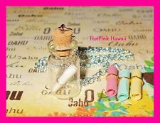 Dream Wish Hope Message in a Bottle Charm Bottle Necklace Silver Plated*USA MADE