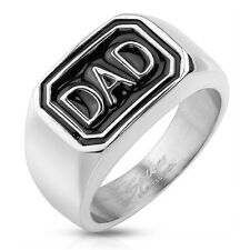 "Men's New Polished Stainless Steel ""DAD"" Father Band Ring - Sizes 9-13"