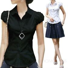 Fitted Womens Cap Sleeve Top Summer Shirts Smart Blouse Casual Shirt Sz 6 4 2 0