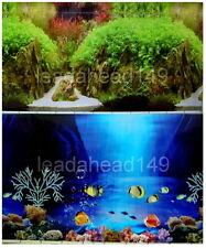 "24""tall (60cm)""FISH/ROCK"" 2 SIDED BACKGROUND AQUARIUM PICTURE FISH TANK DECOR"