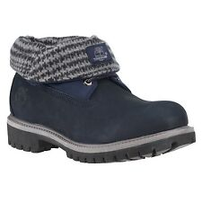 Timberland 6836A Mens size Roll Top Boots Navy Plaid Leather Rolltop Shoes