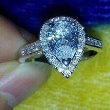 Bling Jewellery 925 Silver Pear Cut White Topaz Diamonique Wedding Ring Sz 5-11