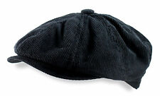 Stetson Newsboy Cap 8/4 Black Brushed Twill Corduroy Mens Ivy Driving Hat M L XL
