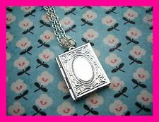 """2 Photo Square Locket Cameo Silver Plated 18"""" Charm Pendant Necklace USA MADE"""