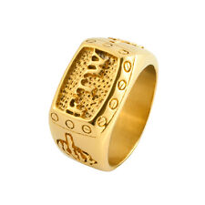 Mens FTW Middle Finger Gold Stainless Steel Ring F The World Bike Mechanic Band