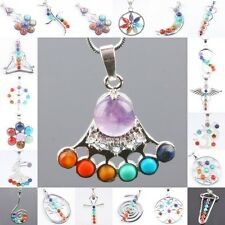 Trendy 7 Mix Stone Healing Gemstone Point Bead Pendant Fit Necklace Jewelry Gift
