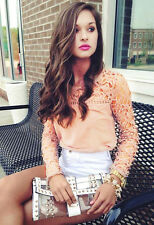 HOT Womens Casual Long Sleeve Shirt Lace Crochet Emboriey Loose Tops Blouse
