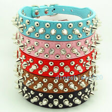 Spiked Studded Rivets PU Leather Dog Collar Pet Collar Necklace Size XS S M L