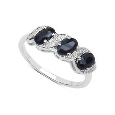 9CT WHITE GOLD SAPPHIRE & DIAMOND ETERNITY RING ANNIVERSARY GIFT SIZE J - T