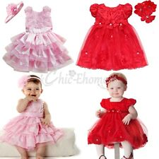 NEW Pink/Red Flower Girl Wedding Pageant Party Formal Dress Baby Toddler 6-24M