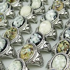 New Genuine 10-30pcs Vintage Mix Natural Shell Silver Women Rings Wholesale Lots
