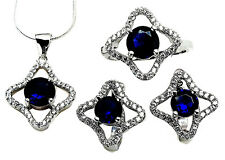 Sterling Silver Blue Sapphire CZ Jewelry Set Star Halo Micro Pave Setting 6, 7