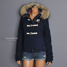 "New Abercrombie & Fitch Womens A&F ""Jill""  Hoodie Wool Toggle Coat Jacket Large"