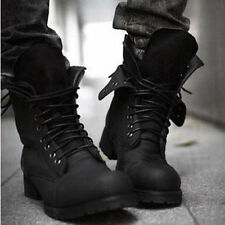 Retro Combat boots Winter England-style fashionable Men's short Black shoes Q26