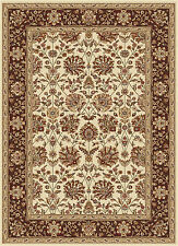 Beige Traditional Oriental Border Vines Area Rug Floral Multi Persian Carpet