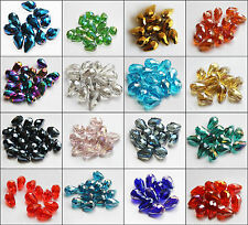 Wholesale 200pcs Faceted Teardrop Cut Glass Crystal Loose Spacer Beads 8x12mm