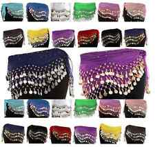 3 ROWS BELLY DANCE HIP SCARF WRAP BELT DANCER SKIRT COSTUME COINS ALL COLOUR-bly