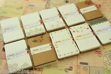 24pc Coffee X Mini Postard Set floral lace pattern Kraft & Ivory bookmark blanks