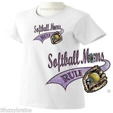 Softball Moms Rule Distressed Mom Graphic Logo Ladies Classic Fit White T Shirt