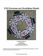 Snowman and Snowflakes Wreath-Christmas-Winter-Plastic Canvas Pattern or Kit