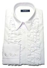 Huber-91 Ruffled Shirt White Quality-Shirt With Ruffle Easy Iron S to 3xl
