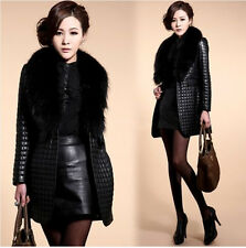 Black Women Faux Fur Leather Coat Jacket Girl Collar Outerwear Overcoat New