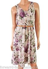 C&A Yessica New Purple Belted Retro Tea Floral Summer Sun Dress Size 10 12 14