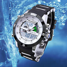 Digital Analog LCD Chronograph Stainless Steel Mens Sport Quartz Watch