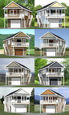 16x36 Tiny Houses -- PDF Floor Plans -- 1-Car Garage -- 8:12 Roof Pitch