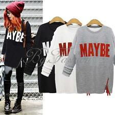 Women Casual Letter Print Oversize Long Tops Jumper Sweatshirt Pullover Sweater
