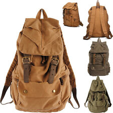 US FINAL CHEAP SELL!!VINTAGE Canvas Backpack Rucksack College LARGE BOOKBAG Bags