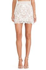 Nude and White Lace A Lined Mini Skirt S M L