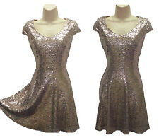 Bronze Gold Sequin Fit Flare Skater Dress Xmas Party New Year FREE POST 1ST CLSS