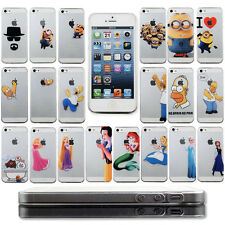 New Cartoon holding apple logo PC hard cute Cover back Case For iPhone 5 5S